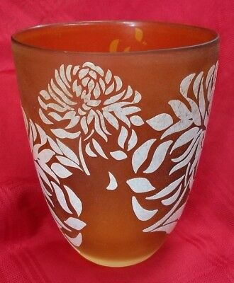 TOZAI HOME CYLINDER 7'' FLOWER FROSTED VASE 9'' TALL HANDMADE FROSTED