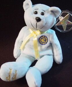 Classic-COLLECTICRITTERS-1999-EURO-Blue-TEDDY-BEAR-Plush-Bean-Bag-Toy-MWMT