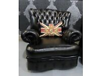 Fantastic Chesterfield Monk Back Chair In Dark Green Leather - 2 Available - UK Delivery
