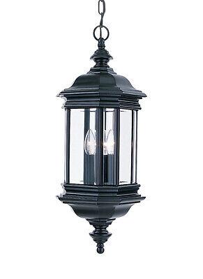 Sea Gull Lighting 6637-12 Hill Gate Three-Light Outdoor Pendant, Black Finish -