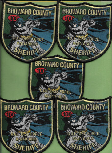 LOT OF 5 POLICE PATCH LOT OF BROWARD COUNTY FL SHERIFF DEPT BATMAN DUI TASK FORC