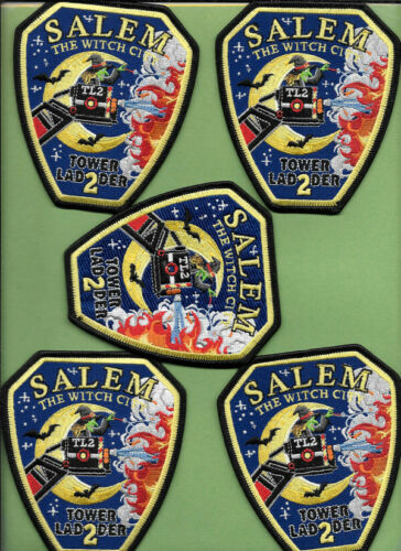 LOT OF 5 SALEM MASS FIRE DEPT TOWER 2 THE WITCH CITY LADDER 2 BATS PATCH LOT