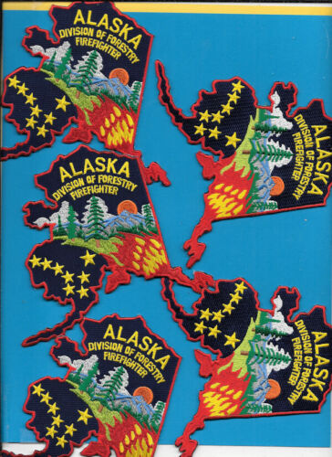 LOT OF 5 ALASKA DIVISION OF FORESTRY FIREFIGHTER STATE SHAPE DOF AK FIRE DEPT