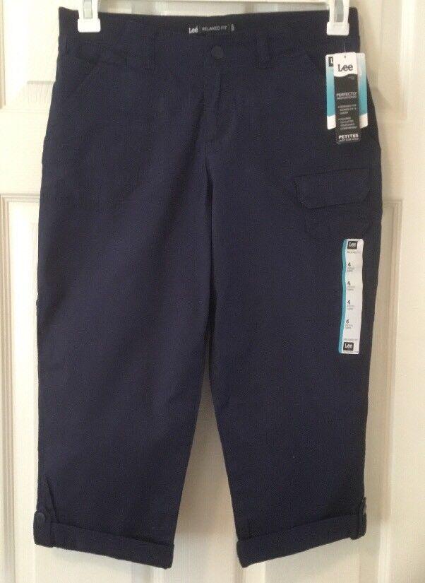 Lee NWT Women's Petite 4P Capri Pants Relaxed Fit Navy Blue