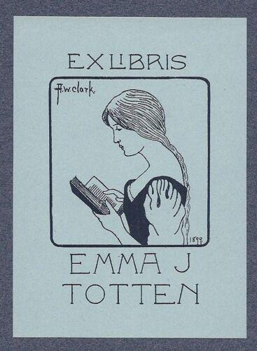 Ex Libris Bookplates for Emma Totten by A.W. Clark