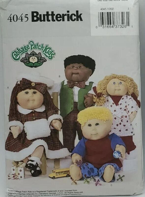Butterick Cabbage Patch Kids Pattern #4045 -4 Outfits 16 & 21 Inch Dolls  Uncut