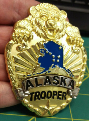 Gold Color Alaska State Trooper Large Collectible Souvenir Pin with bear & map