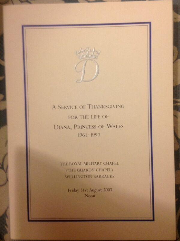 Princess Diana Ultra Rare Order Service Booklet Thanksgiving Service 2007 10year