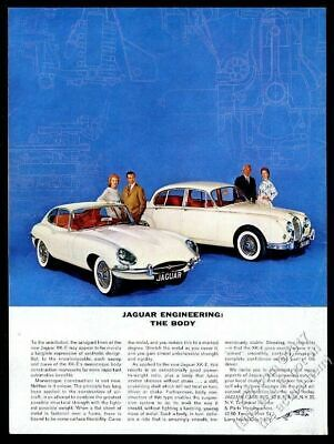 1962 Jaguar XKE XK-E coupe and sedan white cars photo vintage print ad
