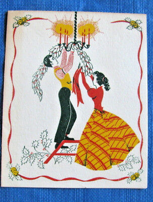 HUSBAND & WIFE IN LONG DRESS DECORATING VINTAGE CHRISTMAS GREETING CARD