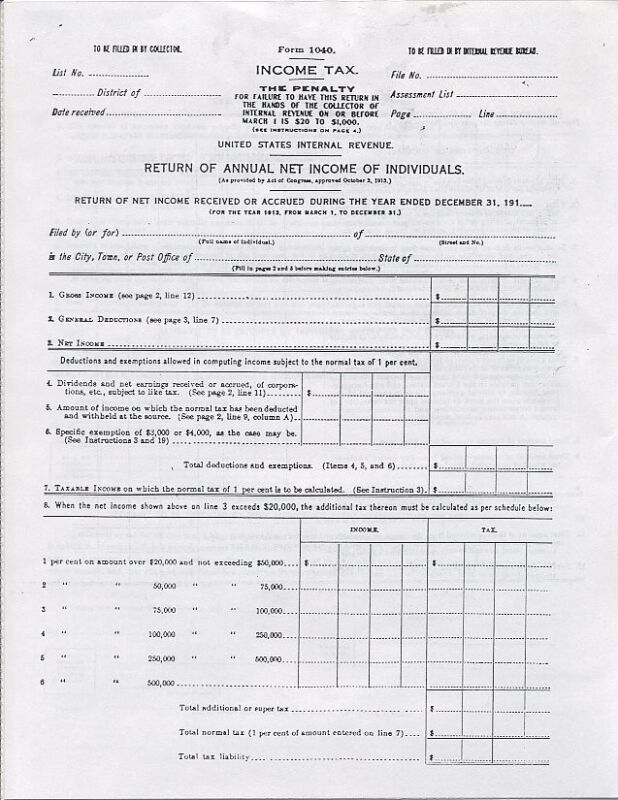 Copy of IRS Tax Form 1040 for 1913 Income Tax 4 pages