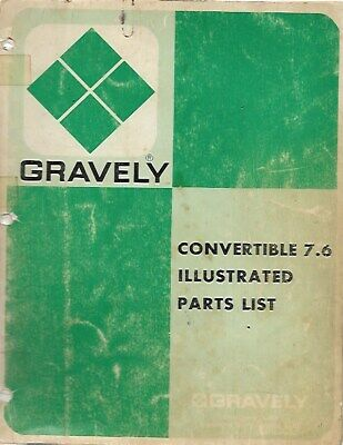 a1-  Vintage 1972 GRAVELY Convertible 7.6 Tractor Lawn Mower Parts List Illustra Gravely Lawn Mower Parts