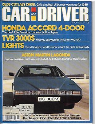 Car and Driver Magazine March 1979- Aston Martin Lagonda, Honda Accord ()