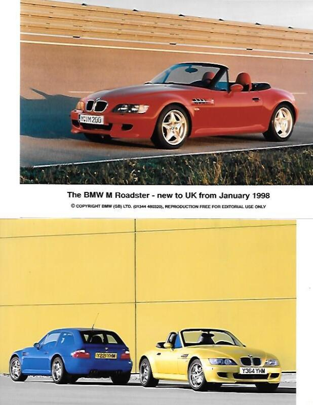 "TWO OF BMW M COUPE AND M ROADSTER PRESS PHOTO  ""brochure related"""