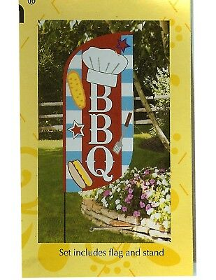 SUMMER BAR B Q Feather Banner Flag w/ STAND Sewn Applique Decorative Banner Flag ()