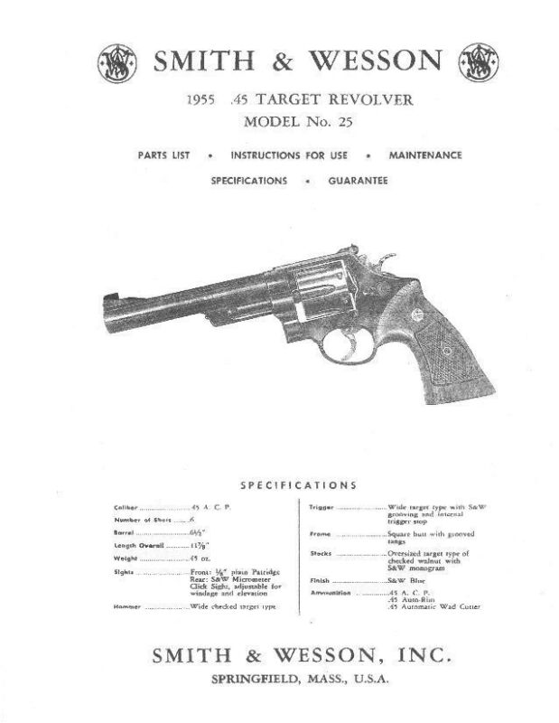 Smith & Wesson 1955 .45 Target Model 25 Manual - #SW13