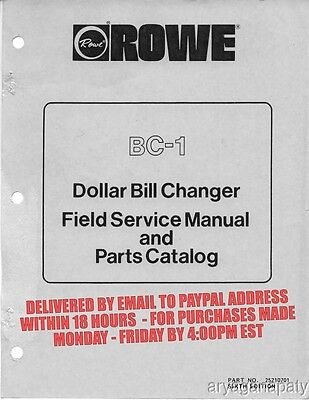 Rowe Bc-1 Dollar Bill Changer Manual 143 Pages Pdf Sent By Email