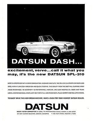 1963 Datsun Dash SPL-310 vintage ad -original & ready to frame!