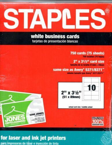 "Staples® Inkjet & Laser Business Cards, 2"" x 3 1/2"", White, 750/Cards"