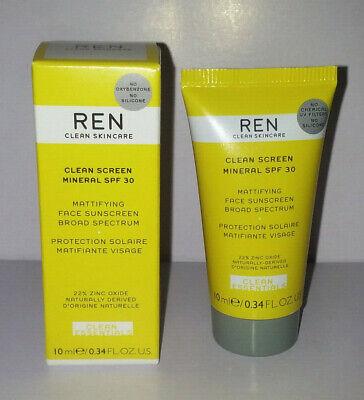 REN Clean Screen Mineral Matifying Face Sunscreen SPF 30 22% Non-Nano Zinc Oxide
