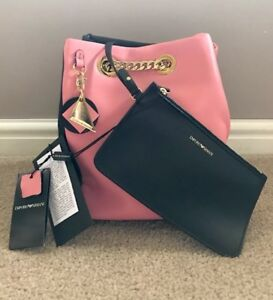 Authentic emporio armani leather bucket bag with chain