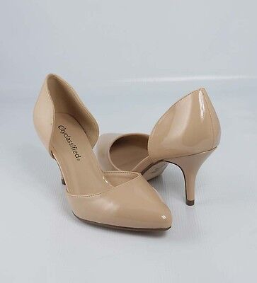 Dark Beige Patent  Awesome D' Orsay Pointy Pointed Toe Stiletto Mid Heel Pumps