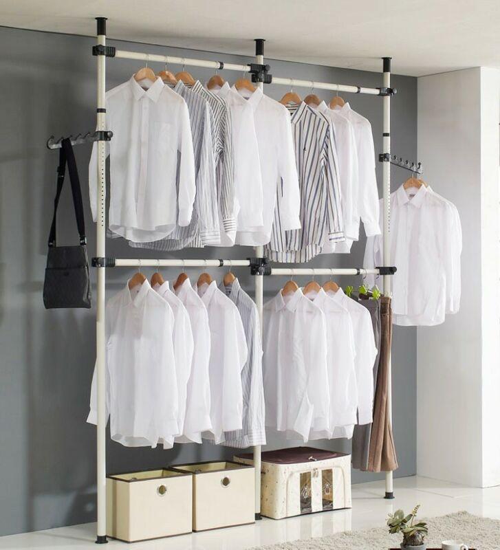 Heavy Duty Adjustable Garment Rack Clothing Pole Closet Organizer - 3x4 - IVORY
