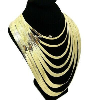 "Unisex Herringbone Chain 14k Gold Plated 4mm to 14mm 8"" 18"" 20"" 24"" 30 Necklace"
