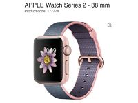 Apple Watch series 2 38mm rose gold and light pink/midnight blue woven strap