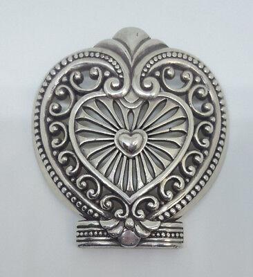 Women's BRIGHTON Heart-shaped Metal Silvertone Scrollwork Belt Buckle Accessory