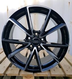 "NEW 18"" AUDI RS4 V SPOKE BLACK EDITION STYLE ALLOY WHEELS X4 BOXED 5X112 A3 A4 A6 TT VW GOLF CADDY"