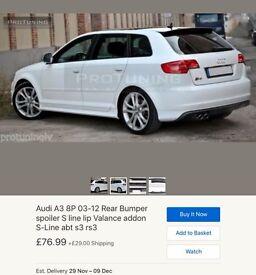 Audi a3 8p 5dr rear splitter valance