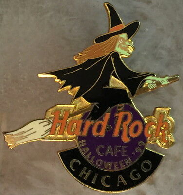 Hard Rock Cafe CHICAGO 1999 HALLOWEEN PIN Witch Riding Broom - Hard Rock Halloween Chicago