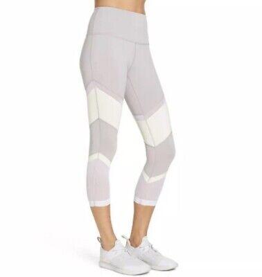 Zella Epic Crop Dot Mesh Leggings L Gray White Pants Capri Pants