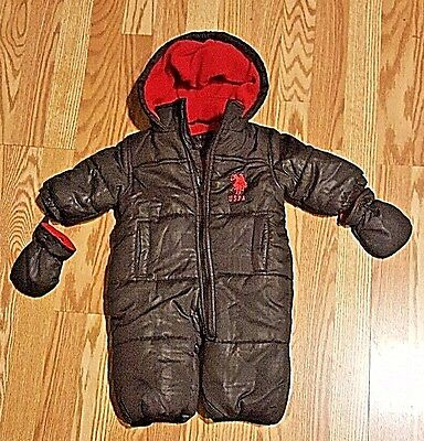 US Polo Assn. Black/Red Puffer Snowsuit Bunting Hood/Mittens 12M Toddler -