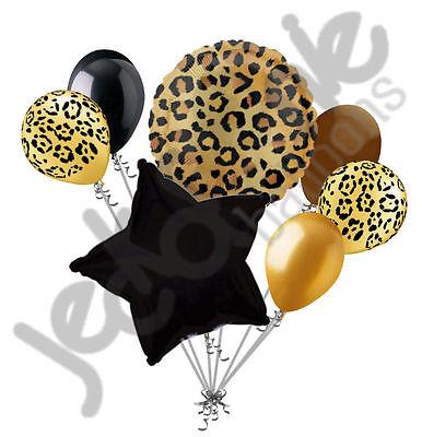 7 pc Tan Cheetah Print Balloon Bouquet Happy Birthday Baby Shower Animal Leopard - Cheetah Print Balloons
