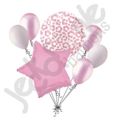 Pink Cheetah Print Party Supplies (7 pc Pink Cheetah Print Balloon Bouquet Happy Birthday Girl Baby Shower)