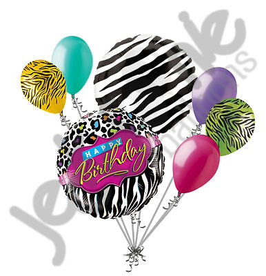 7 pc Leopard & Zebra Happy Birthday Balloon Bouquet Jungle Safari Colorful Zoo