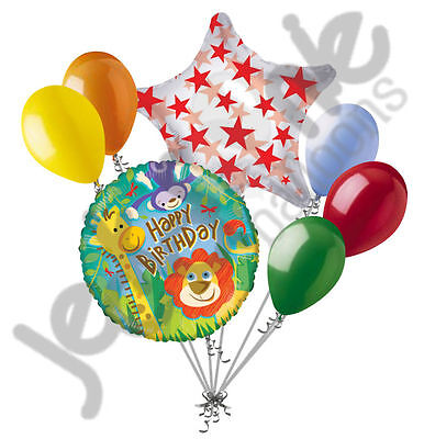 7 pc Jungle Animal Happy Birthday Balloon Bouquet Safari Giraffe Lion Monkey - Birthday Monkey