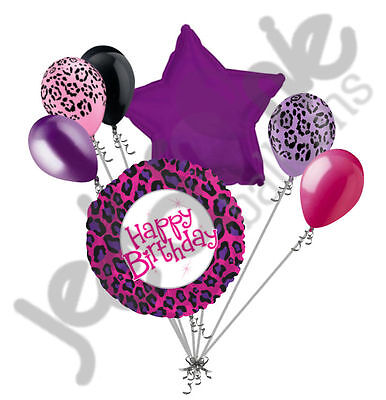 7 pc Happy Birthday Cheetah Safari theme Balloon Bouquet Jungle Leopard Purple