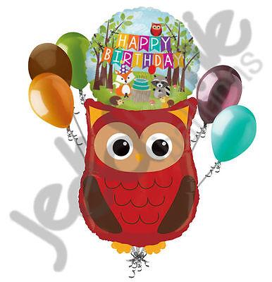 7 pc Woodland Owl Happy Birthday Animals Balloon Bouquet Party Decoration Woods