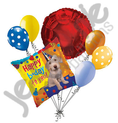 7 pc Happy Birthday Party Pup Balloon Bouquet Decoration Party Puppy Dog Primary