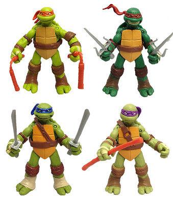 4Pcs Teenage Mutant Ninja Turtles Classic Kids Toy 5'' TMNT Figures PVC Toys Set