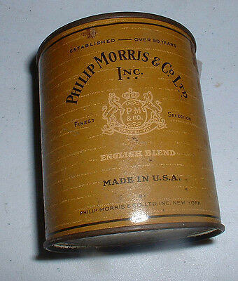 Phillip Morris 50 Count Humidorpac Round Tin  English Blend Usa  Phillip Morris