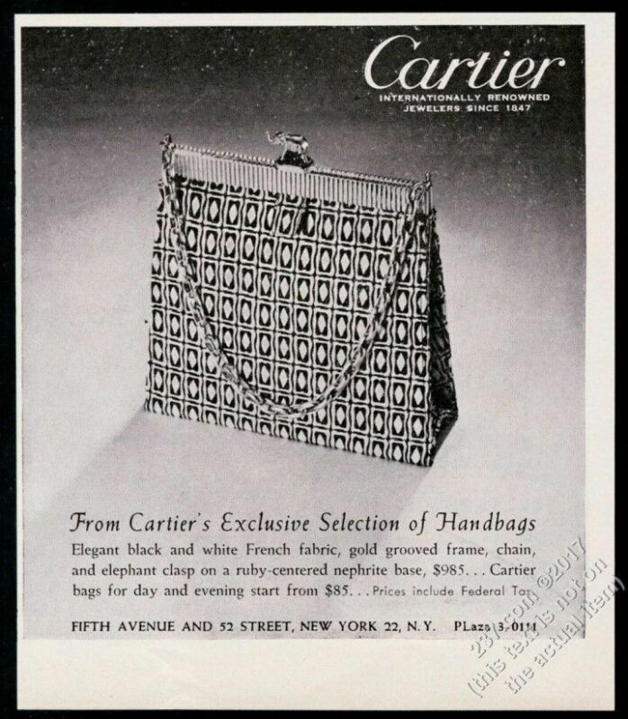 1951 Cartier jewelry jeweled handbag purse photo vintage print ad