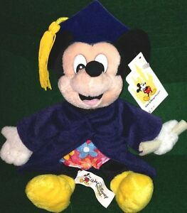 WDW-Disney-GRADNITE-MICKEY-MOUSE-9-Bean-Bag-PLUSH-Mint-New-Tag-Grad-Graduation