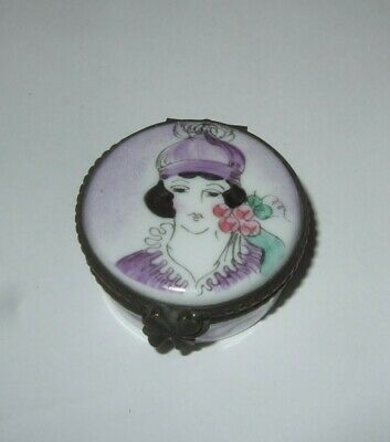 Decorative Porcelain Trinket Box Twenties Flapper Girl With Cloche Hat VTG