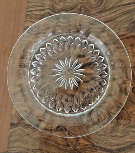Vintage Clear Crystal small Round Flower Design Plate