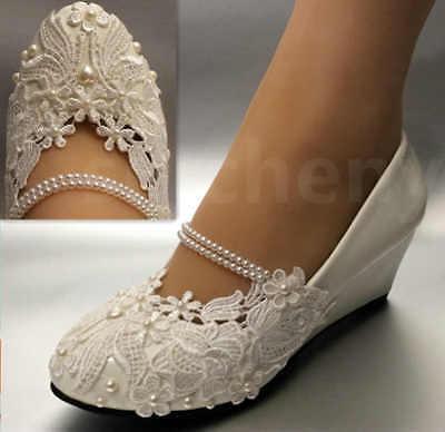 su.cheny White light ivory lace Wedding shoes flat heel wedg