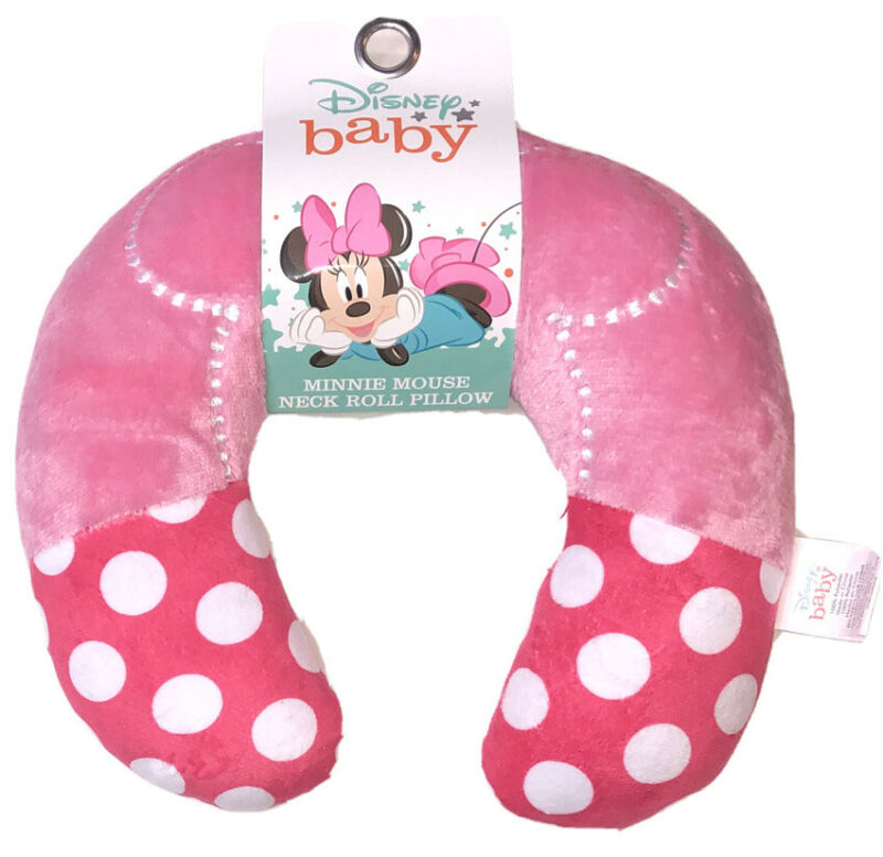 Disney Baby Minnie Mouse Neck Roll Support Pillow Super Soft Travel Pillow ~ NWT